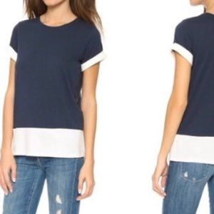 Vince Colorblock Rolled Short Sleeve Tee Shirt Top